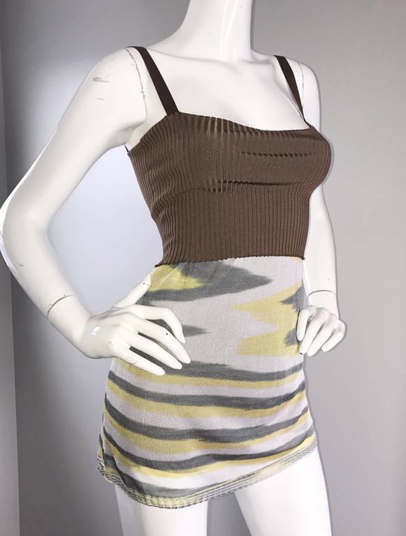 1990s Missoni 90s Vintage Mini Dress, Tunic Top, Or Skirt Zig Zag Brown + Yellow 8