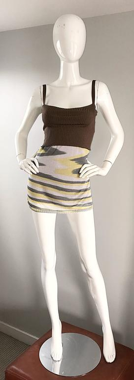 1990s Missoni 90s Vintage Mini Dress, Tunic Top, Or Skirt Zig Zag Brown + Yellow 9