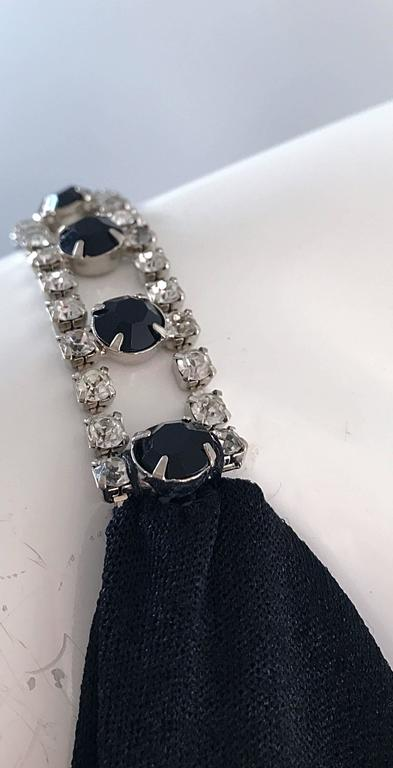 1960s Patty Pickens Black Jersey Rhinestone 60s Vintage Palazzo Leg Jumpsuit  In Excellent Condition For Sale In Chicago, IL