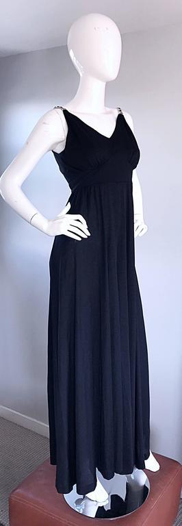 Women's 1960s Patty Pickens Black Jersey Rhinestone 60s Vintage Palazzo Leg Jumpsuit  For Sale