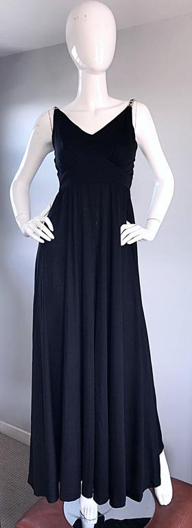 1960s Patty Pickens Black Jersey Rhinestone 60s Vintage Palazzo Leg Jumpsuit  For Sale 2
