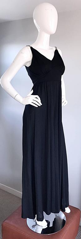 1960s Patty Pickens Black Jersey Rhinestone 60s Vintage Palazzo Leg Jumpsuit  For Sale 3