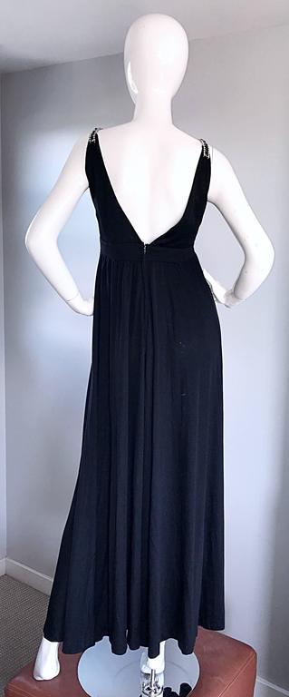 1960s Patty Pickens Black Jersey Rhinestone 60s Vintage Palazzo Leg Jumpsuit  For Sale 4
