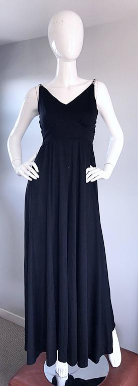 1960s Patty Pickens Black Jersey Rhinestone 60s Vintage Palazzo Leg Jumpsuit  For Sale 5