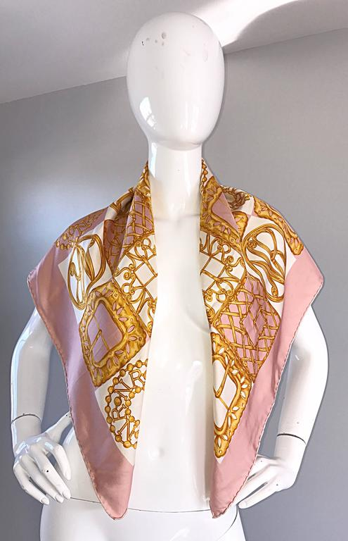 1970s Nina Ricci Couture Pink and Gold Trompe L'Oeil Silk Oversized Scarf Shawl 4