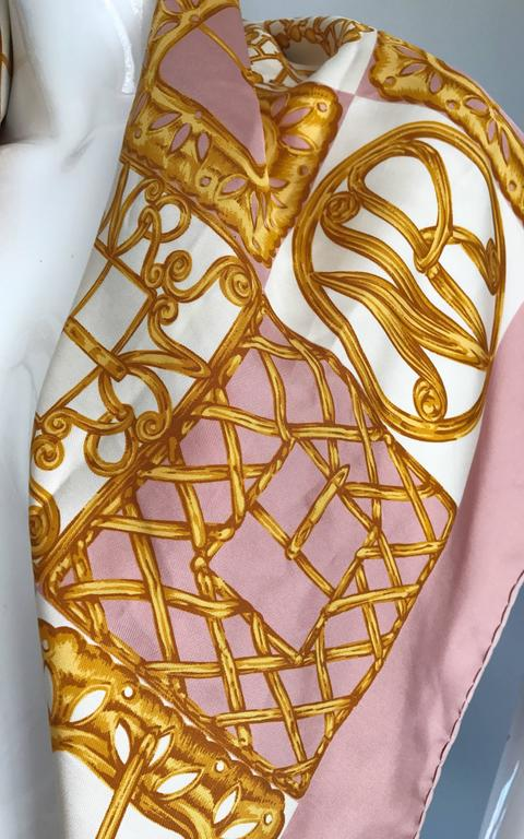 1970s Nina Ricci Couture Pink and Gold Trompe L'Oeil Silk Oversized Scarf Shawl 7