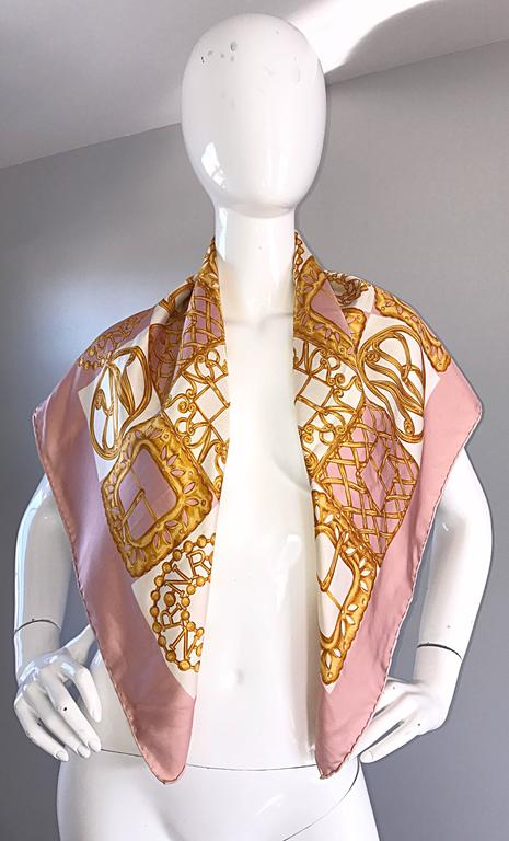 1970s Nina Ricci Couture Pink and Gold Trompe L'Oeil Silk Oversized Scarf Shawl 10
