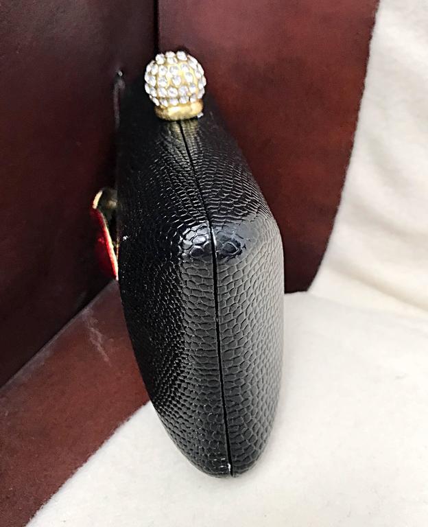 Rare Iris Lane Vintage 90s Black Red Lips Lizard Minaudière Convertible Clutch  For Sale 2
