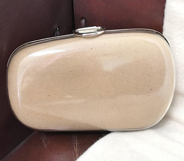 Beige Rare 1990s Isaac Mizrahi Nude Tan Plexiglass Minaudière Finger Clutch Bad Purse For Sale