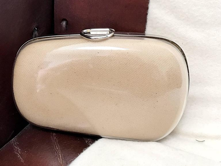 Women's Rare 1990s Isaac Mizrahi Nude Tan Plexiglass Minaudière Finger Clutch Bad Purse For Sale