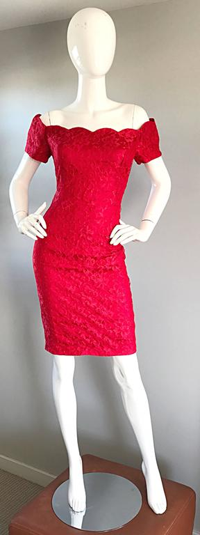 Amazing 90s lipstick red scalloped off-the-shoulder French Cantily lace cocktail dress! Feature intricate hand sewn French lace. Hidden zipper up the back. Scalloped edges at bodice and sleeves. Looks amazing on! Great belted or alone. Perfect with