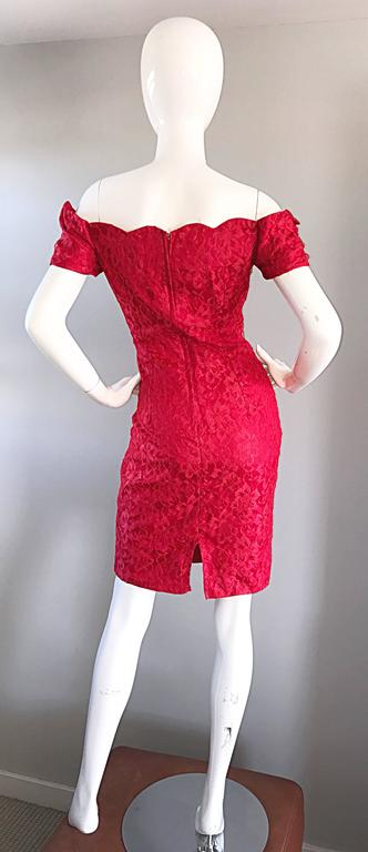 1990s Insanely Sexy Lipstick Red French Lace Off The Shoulder Scalloped Dress For Sale 1