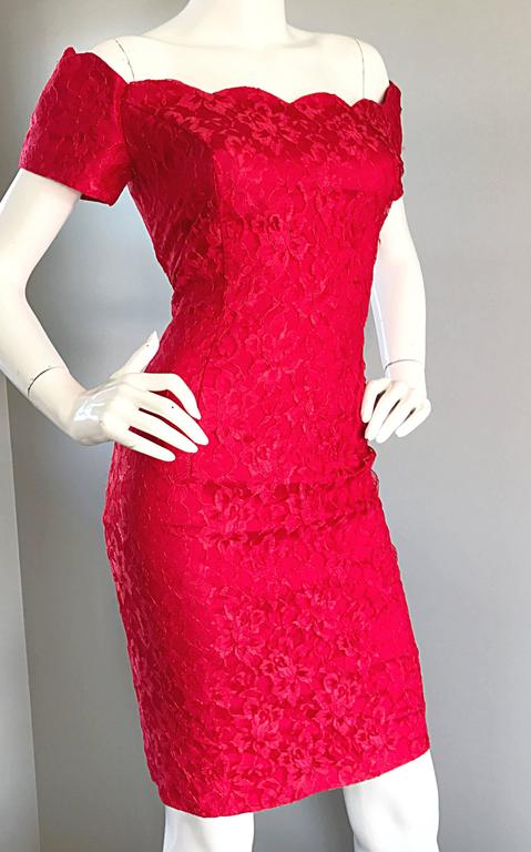 1990s Insanely Sexy Lipstick Red French Lace Off The Shoulder Scalloped Dress For Sale 2