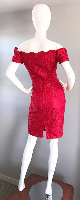 1990s Insanely Sexy Lipstick Red French Lace Off The Shoulder Scalloped Dress 9