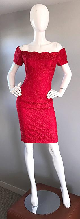 1990s Insanely Sexy Lipstick Red French Lace Off The Shoulder Scalloped Dress For Sale 6