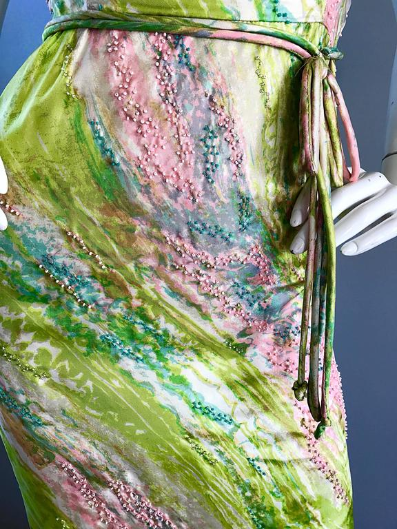 1950s Saks Fifth Avenue Watercolor Demi Couture Beaded Silk Vintage 50s Dress In Excellent Condition For Sale In Chicago, IL