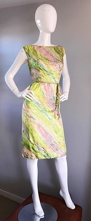 Women's 1950s Saks Fifth Avenue Watercolor Demi Couture Beaded Silk Vintage 50s Dress For Sale