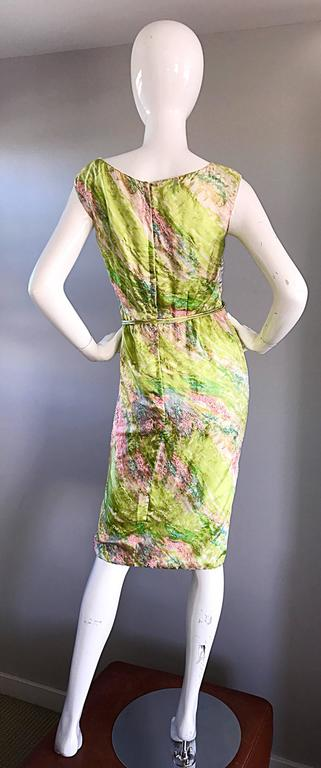 1950s Saks Fifth Avenue Watercolor Demi Couture Beaded Silk Vintage 50s Dress For Sale 1