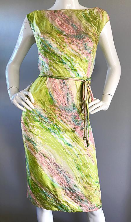 1950s Saks Fifth Avenue Watercolor Demi Couture Beaded Silk Vintage 50s Dress For Sale 2