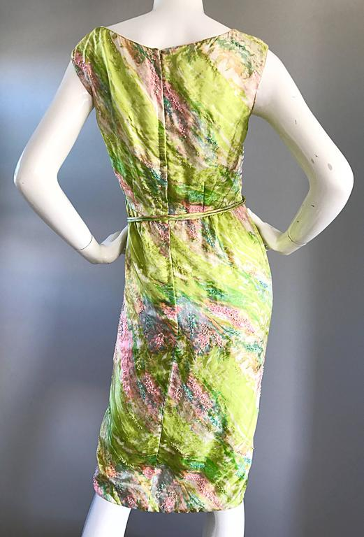 1950s Saks Fifth Avenue Watercolor Demi Couture Beaded Silk Vintage 50s Dress For Sale 3