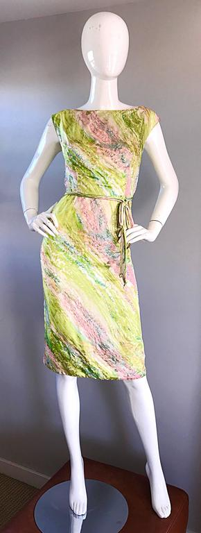 1950s Saks Fifth Avenue Watercolor Demi Couture Beaded Silk Vintage 50s Dress For Sale 4