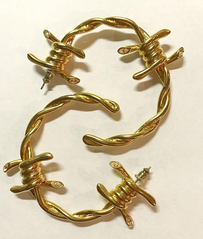 Rare Vivienne Westwood For Agent Provocateur Gold Barbed Wire Big Hoop Earrings 5