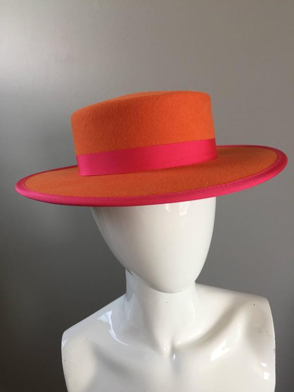 e21e0285b5d 1960s Tina Too Bollman Neon Orange + Hot Pink Wool Doeskin Felt Vintage 60s  Hat In