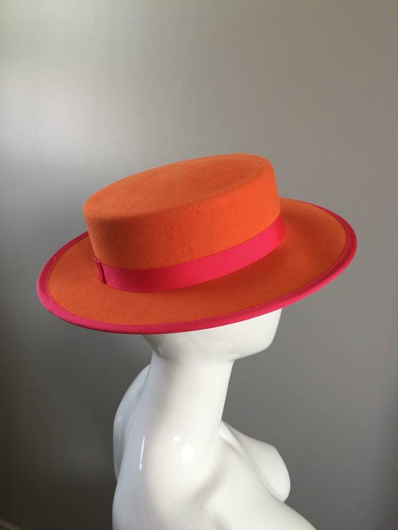 e44a5ae9bcc 1960s Tina Too Bollman Neon Orange + Hot Pink Wool Doeskin Felt Vintage 60s  Hat For