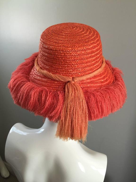dd90a20b822 1960s Rare Italian Coral Orange and Pink Vintage Raffia Straw Fringe 60s  Sun Hat In Excellent