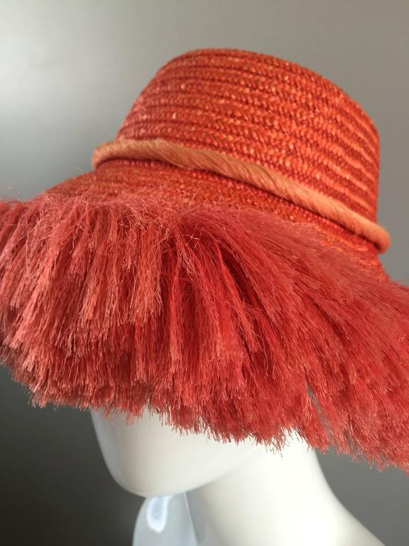3a223424d4e 1960s Rare Italian Coral Orange and Pink Vintage Raffia Straw Fringe 60s  Sun Hat For Sale