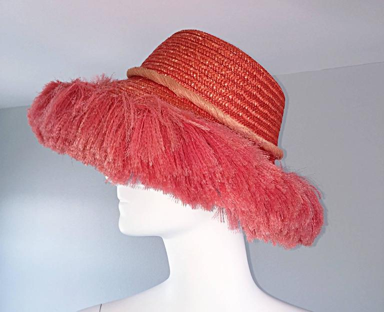 edc0c3bdc84 1960s Rare Italian Coral Orange and Pink Vintage Raffia Straw Fringe ...