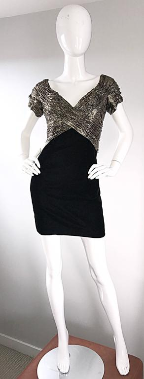 Sexy, yet sophisticated 1990s 90s VICKY TIEL COUTURE mini dress! Features a gold, silver, and black metallic snakeskin bodice. Flattering signature ruching throughout the boned bodice. Soft black silk velvet skirt fits like a dream! Hidden metal