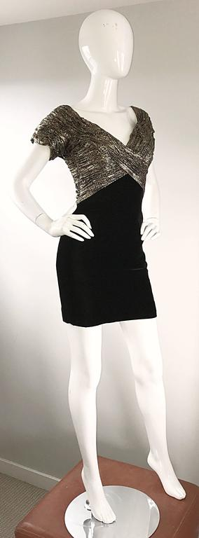 Women's Vintage Vicky Tiel Couture Gold + Black Velvet Metallic Snakeskin Mini Dress  For Sale