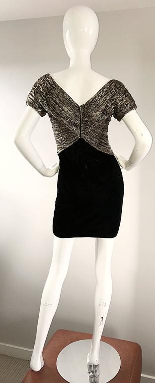 Vintage Vicky Tiel Couture Gold + Black Velvet Metallic Snakeskin Mini Dress  For Sale 1
