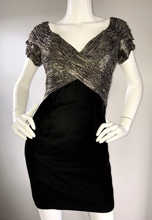 Vintage Vicky Tiel Couture Gold + Black Velvet Metallic Snakeskin Mini Dress  For Sale 2