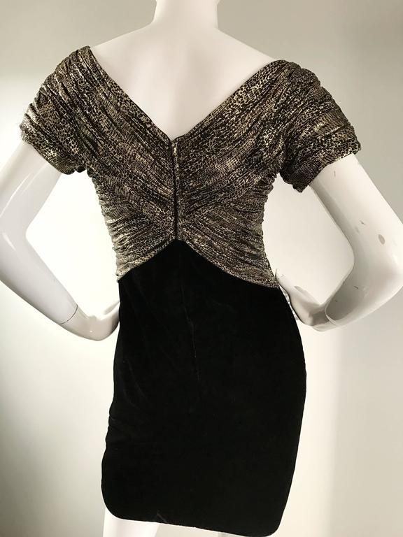 Vintage Vicky Tiel Couture Gold + Black Velvet Metallic Snakeskin Mini Dress  For Sale 3