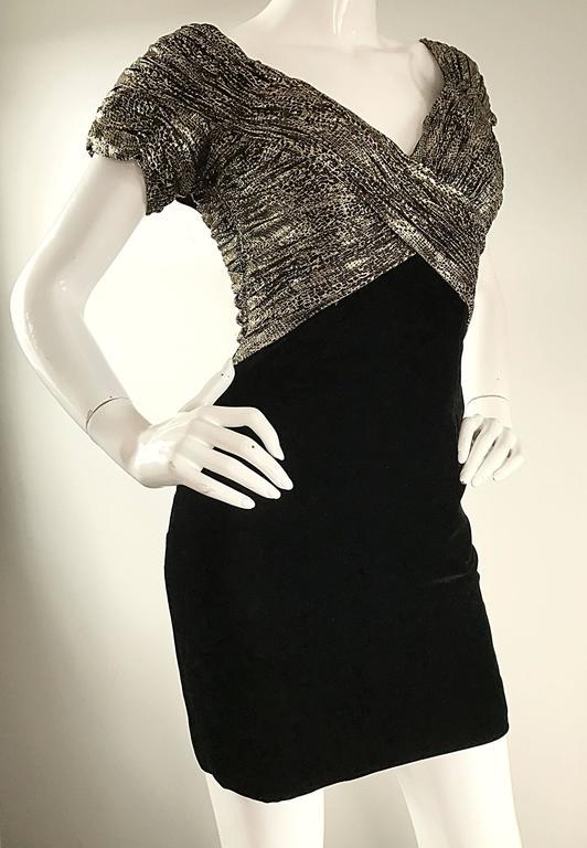 Vintage Vicky Tiel Couture Gold + Black Velvet Metallic Snakeskin Mini Dress  For Sale 4