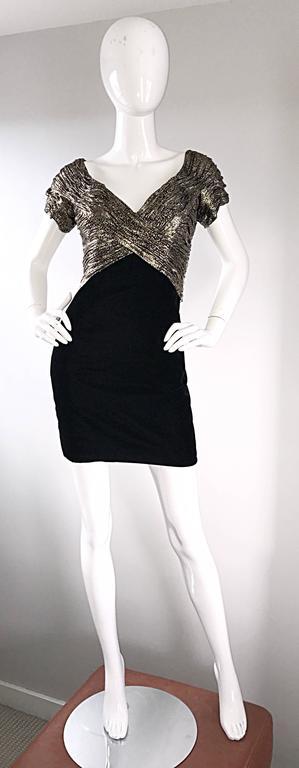 Vintage Vicky Tiel Couture Gold + Black Velvet Metallic Snakeskin Mini Dress  For Sale 5