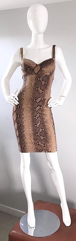 Ninivah Khomo 1990s Rare Vintage Snakeskin Print Bodycon Sexy Cotton 90s Dress  2