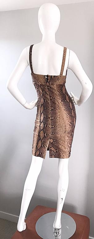 Ninivah Khomo 1990s Rare Vintage Snakeskin Print Bodycon Sexy Cotton 90s Dress  For Sale 2