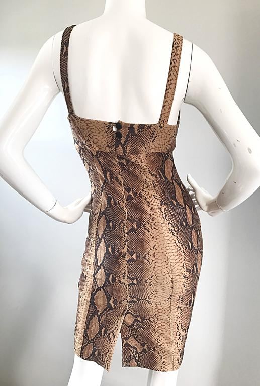 Brown Ninivah Khomo 1990s Rare Vintage Snakeskin Print Bodycon Sexy Cotton 90s Dress  For Sale