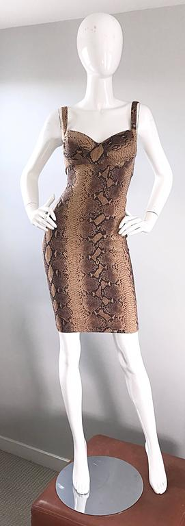Ninivah Khomo 1990s Rare Vintage Snakeskin Print Bodycon Sexy Cotton 90s Dress  For Sale 4