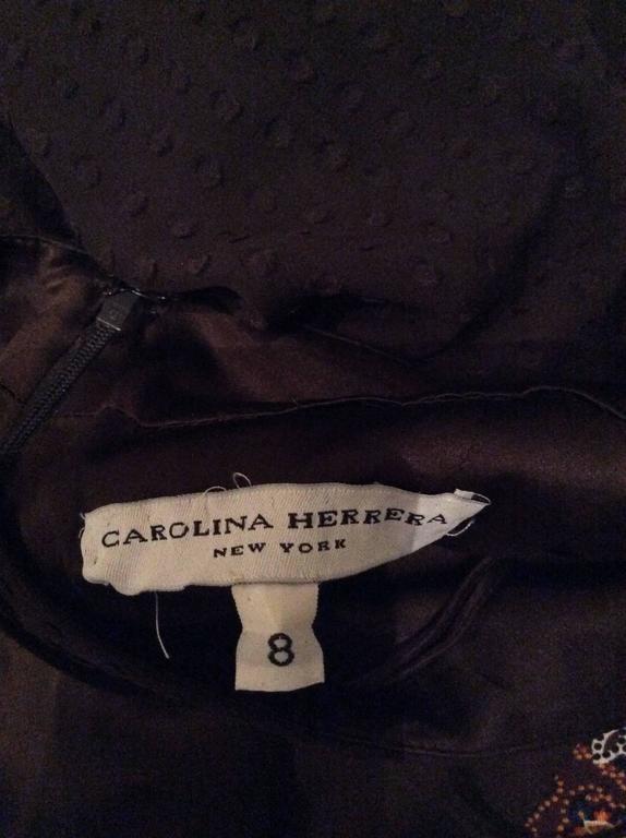 Carolina Herrera 1990s Espresso Brown Silk Chiffon Sz 8 Maxi Dress Vintage Gown  For Sale 5