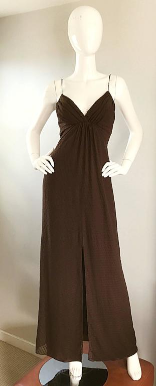 Beautiful vintage 90s CAROLINA HERRERA chocolate espresso brown silk chiffon evening gown! Features textured silk chiffon over brown liquid silk. Thin spaghetti straps at each shoulder with a deep v neckline that reveals just the right amount of