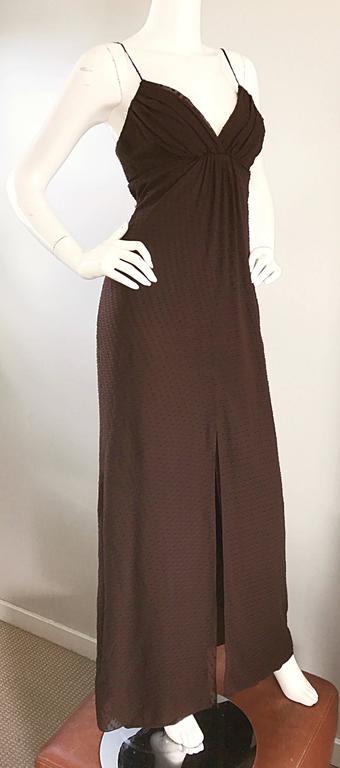 Carolina Herrera 1990s Espresso Brown Silk Chiffon Sz 8 Maxi Dress Vintage Gown  In Excellent Condition For Sale In San Francisco, CA