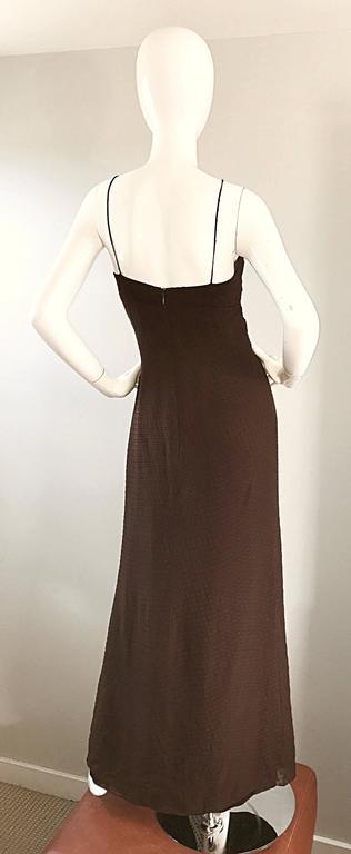 Women's Carolina Herrera 1990s Espresso Brown Silk Chiffon Sz 8 Maxi Dress Vintage Gown  For Sale