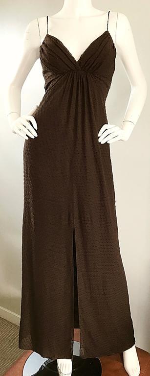 Carolina Herrera 1990s Espresso Brown Silk Chiffon Sz 8 Maxi Dress Vintage Gown  For Sale 1
