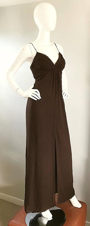 Carolina Herrera 1990s Espresso Brown Silk Chiffon Sz 8 Vintage 90s Gown Dress For Sale 2