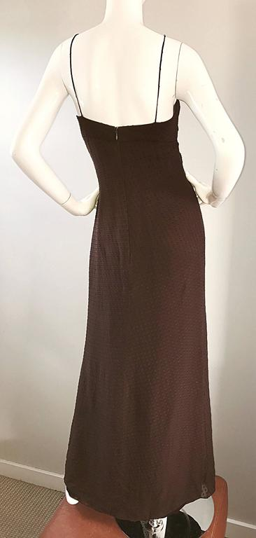 Carolina Herrera 1990s Espresso Brown Silk Chiffon Sz 8 Vintage 90s Gown Dress For Sale 3