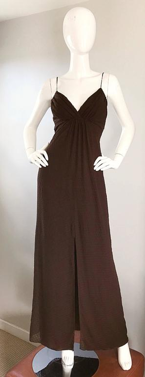 Carolina Herrera 1990s Espresso Brown Silk Chiffon Sz 8 Vintage 90s Gown Dress For Sale 4